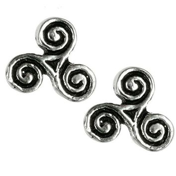 PEAPGQ9 Celtic Triskelion Triple Spiral - Stud Earrings
