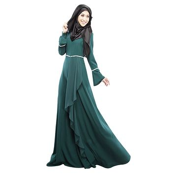 2016 Design Muslim Womens Kaftan Abaya Islamic Dress O-Neck Long Sleeve Empire Waist Chiffon Floor Length Womens Hijab Clothing