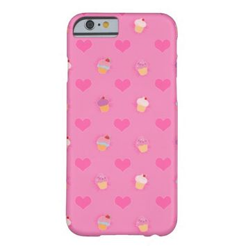 Pink Cupcake Pattern Barely There iPhone 6 Case