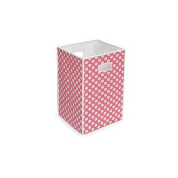 Badger Basket Folding Hamper/Storage Bin, Pink With White Polka Dots