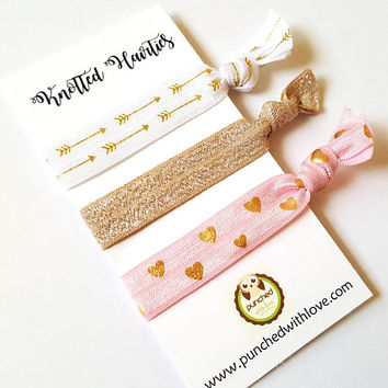 Pack of 3 elastic hair ties, hair elastic bracelet, hair tie party favor, girl hair accessories, cute girl teen, ponytail holder, gold aztec