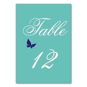 Turquoise Personalized Event Table Numbers Table Cards