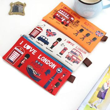 Kawaii I Love London Oxford Zipper Pencil Pen Case Stationary Pouch Storage Bag Holder Storage Stationery School Supplie