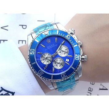 Rolex tide brand men and women personality outdoor sports multi-function quartz watch blue