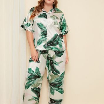 Plus Size Palm Print Satin Pajama Set