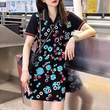 """Gucci"" Women Show Thin Casual Personality Glasses Little Monster Print Lapel Short Sleeve Polo Shirt Dress"