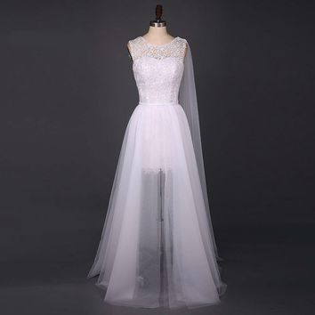 Unique Wedding Dress White Appliques Wedding Dresses Scoop Sleeveless Open Bank A Line Bridal Gowns