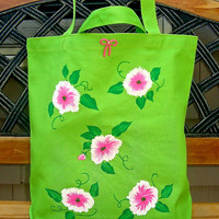 Hand Painted Neon Green Tote Bag With Pink Flowers