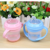 Baby child leak-proof drinking cup silica gel training cup with handle Duckbill Baby Milk Sippy Cup