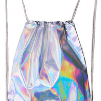 HOLOGRAPHIC DRAWSTRING BAG : Intergalactic Fashion, 90's Grunge Tumblr, Trippy Alien, Dreamy Rainbow Shimmer Silver