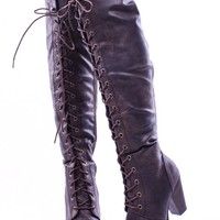 BROWN FAUX LEATHER LACE UP LONG COMBAT STYLE WITH HEEL KNEE HIGH LONG BOOTS