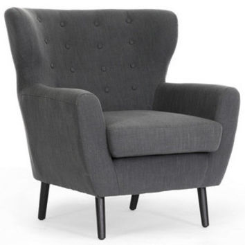 Lombardi Dark Gray Linen Modern Club Chair