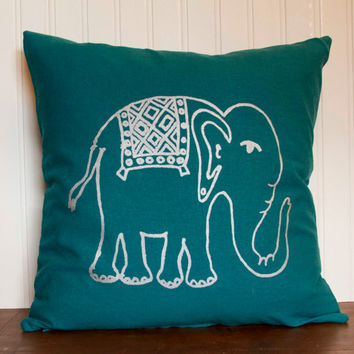 "Elephant Pillow- 16""x16"" Decorative Throw Pillow Cover with screen printed elephant in silver, peacock blue"