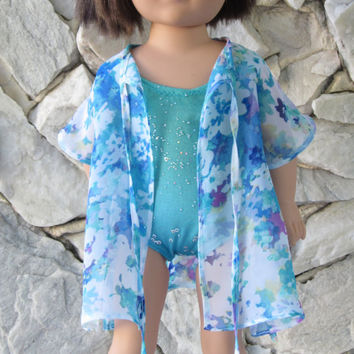 "2-piece beachwear, turquoise/green/teal/blue bathing suit with a floral chiffon beach robe/ swimming suit cover for an 18"" doll."