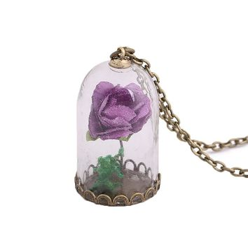 Rose Pendant Necklace Luminous Glass Vial Retro Crystal  Christmas