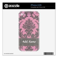 Girly Damask Pattern with Name - Pink and Gray Decals For Iphone 4s from Zazzle.com