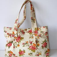 Hobo Tote Bag orangepink and green Floral shoulder by seno on Etsy