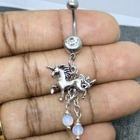 Sale....Unicorn belly button navel ring 14 gauge stainless steel body jewelry, 14g