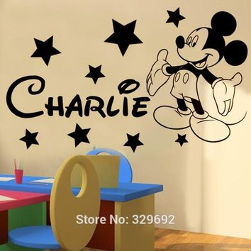 sell like hot cakes Mickey mickey Mouse Personalise name boys bedroom wall sticker kit decal decor wallpaper tx-079