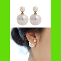 Double Pearls Wrapping Ear Cuffs (Reversible Wearing)