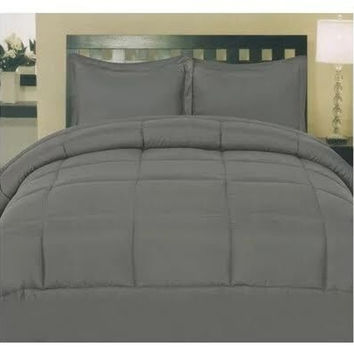 Cozy Home Down Alternative 8 Piece Embossed Comforter Set - Grey (Queen)
