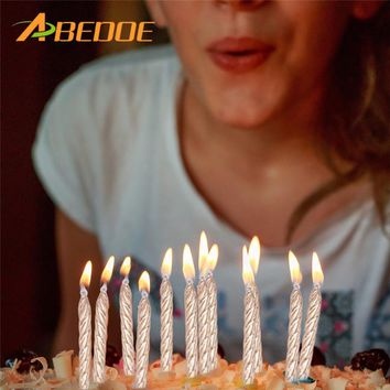ABEDOE 10PCS Silver/Gold Thread Candle Birthday Party and Festival Supplies Lovely Birthday Candles for Kitchen Baking Gifts