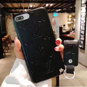Louis Vuitton LV Stylish Women Men Personality iPhone Phone Cover Case For iphone 6 6s 6plus 6s-plus 7 7plus 8 8plus X +Soft Shell Black I12269-1