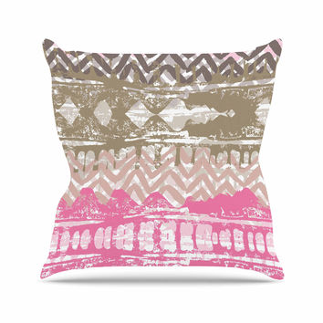 "Chickaprint ""Allegro"" Pink Gold Throw Pillow"
