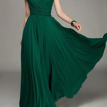 Dark Green Pleated Double-deck Bohemian Short Sleeve Elegant Maxi Dress