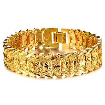 Gold Bracelet for Women Men Gold Color & Brass Bangles Hand Chain Jewelry