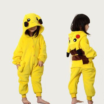 Pikachu Onesuit Pijamas Kid Pokemen Party Pajamas Anime Cosplay Costume Halloween Carnival Funny Clothes Boys Girls Sleepwear