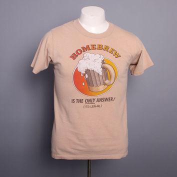 80s HOMEBREW Beer TSHIRT / Soft Thin Beer Making Brewer Tee, m