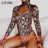 ZJFZML Turtleneck Long Sleeve Snake Skin Print Sexy Women Bodysuits Autumn Causal Skinny Romper Femme Club Hollow Out Overalls