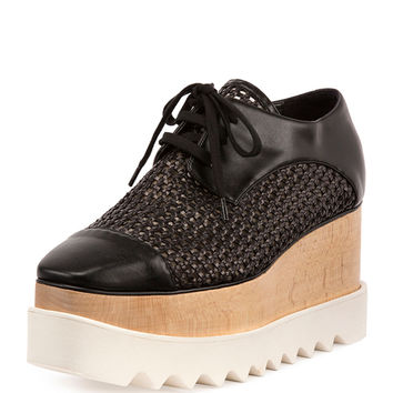 Elyse Woven Lace-Up Platform Sneaker, Black