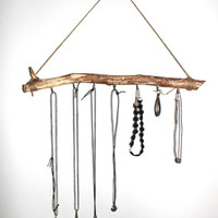 Wooden Jewelry Holder - Branch Wood Wall Display - Wooden Stick