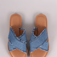 Crisscross Frayed Denim Slide Sandal