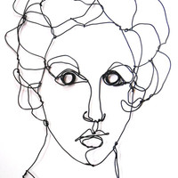 Wire wall art - Vogue woman model - portrait profile - wire sculpture - fashion art - metal sculpture