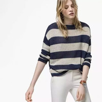 Stripe Long-Sleeve Knitted Sweater