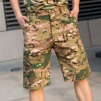 Hot 2017 Outdoor camouflage Summer Sports Army Men's training Tactical Cargo Loose Multi Pocket Flame retardant Hiking Shorts