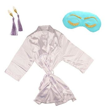 BREAKFAST AT TIFFANY'S SATIN KIMONO GIFT SET WITH SLEEP MASK & EARPLUGS