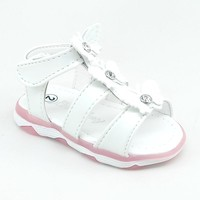 Baby White LED Sandals with Hook and Loop Strap and Butterflies Details