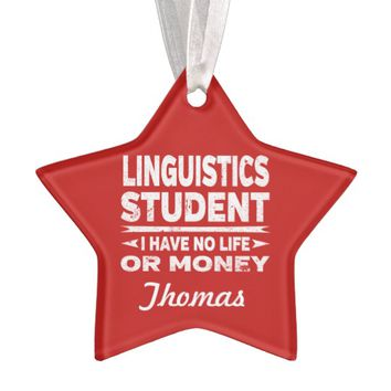Linguistics College Student No Life or Money Ornament
