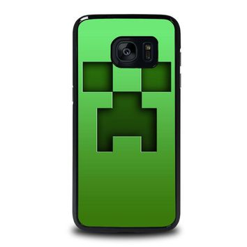 creeper minecraft samsung galaxy s7 edge case cover  number 1