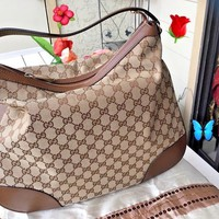 NEW~GUCCI BREE ORIGINAL GG/DOLLAR CALF/BEIGE/TABACCO LARGE BAG