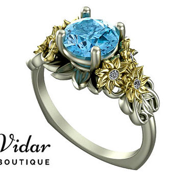 Flower Engagement Ring,Unique Engagement Ring,Two Tone White Yellow Gold Aquamarine Engagement Ring By Vidar Botique,Leaves Engagement Ring