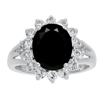 2.50 Oval Black Onyx and White Sapphire Ring in 925 Sterling Silver