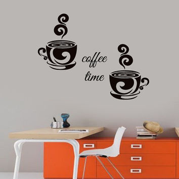 Wall Decals Coffee Time Words Two Coffee Cups Kitchen Cafe Home Vinyl Decal Sticker Kids Nursery Baby Room Decor kk194