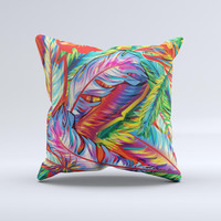 The Vibrant Colorful Feathers ink-Fuzed Decorative Throw Pillow