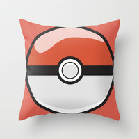 Red Pokeball Throw Pillow by Pi Design Prints