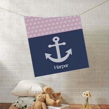Knit Baby Blanket | Anchor with Dots | Custom Name Stroller Blanket | Boy or Girl | 100% Cashwool